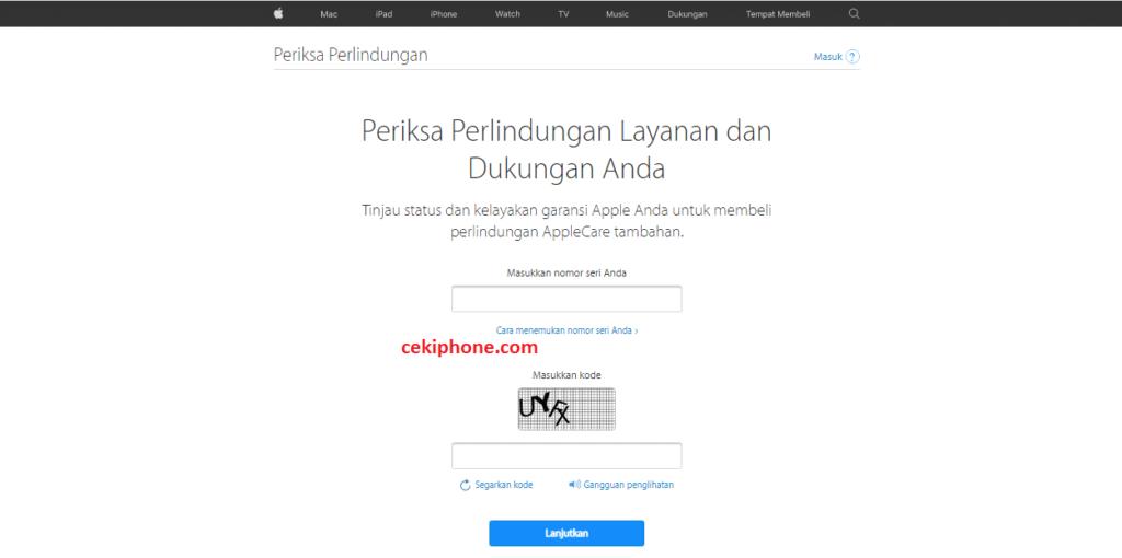 cara cek garansi iPhone resmi atau distributor