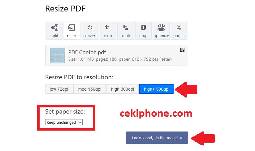 cara memperbesar ukuran file pdf menjadi 300 kb online