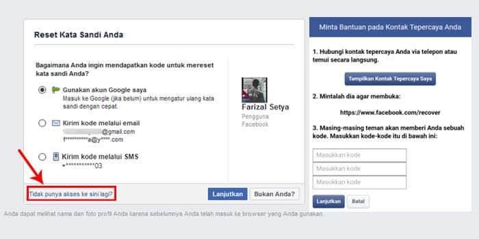 cara membuka facebook lupa kata sandi nomor hp tidak aktif dan lupa email