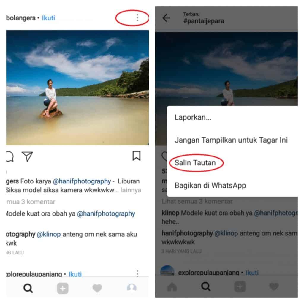 cara copy link instagram pribadi